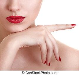 gyönyörű, közelkép, fénykép, ajkak, női, piros