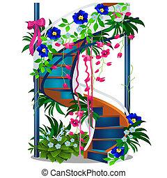 gyönyörű, közelkép, illustration., lépcsőház, elszigetelt, spirál, háttér., vektor, white virág, karikatúra