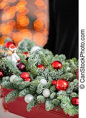 gyönyörű, karácsony, herék, girland, csinos, mood., fém, egyezség, állati tüdő, bokeh, box., háttér., friss, karácsony, piros