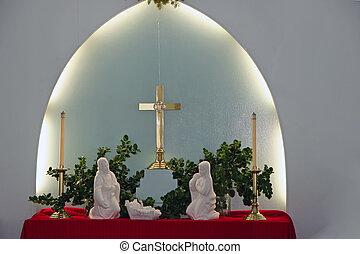 gyönyörű, karácsony, menedzser, nativity táj, belső, templom