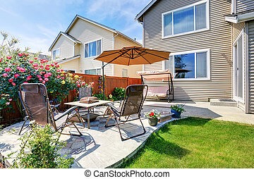gyönyörű, kert, terület, tervezés, táj, udvar, kis zárt belső udvar