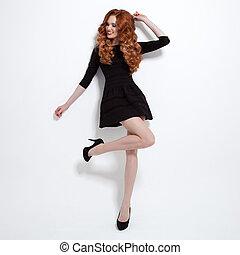 gyönyörű, kevés, dress., nő, fekete, mód