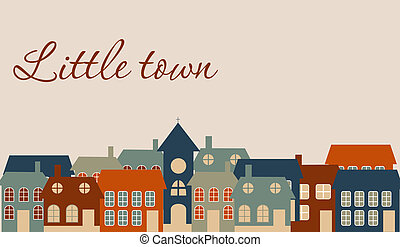 gyönyörű, kevés, town., ábra, vektor, kártya