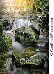 gyönyörű, kicsi, waterfall.