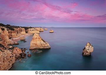 gyönyörű, kilátás a tengerre, napkelte, marinha, tengerpart.