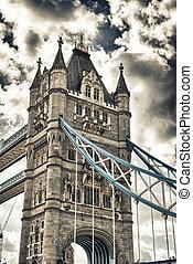gyönyörű, kilátás, közül, pazar, uralkodik bridzs, alatt, london