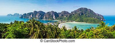 gyönyörű, kilátás, közül, phi phi sziget