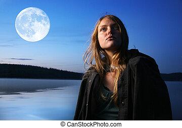 gyönyörű, kisasszony, éjjel, szabadban, -ban, tó