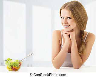 gyönyörű, kisasszony, étkezési, növényi, saláta