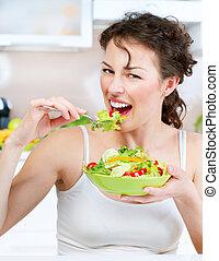 gyönyörű, kisasszony, étkezési, növényi, salad., fogyókúra, fogalom