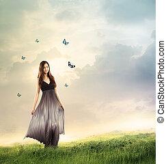 gyönyörű, kisasszony, alatt, egy, varázslatos, táj