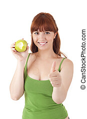 gyönyörű, kisasszony, eszik alma