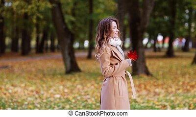 gyönyörű, kisasszony, gyalogló, alatt, ősz, liget