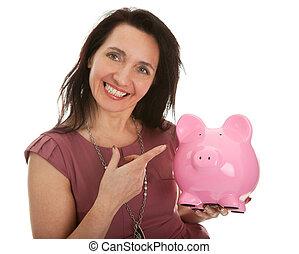 gyönyörű, kisasszony, takarékbetét pénz