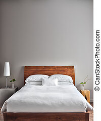 gyönyörű, kitakarít, és, modern, hálószoba
