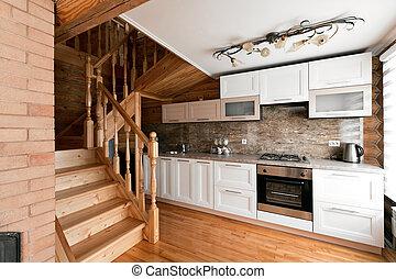 gyönyörű, konyha, szoba, épület, sóvárog, falusias, interior., állomást bemér, fülke, hegy., fahasáb