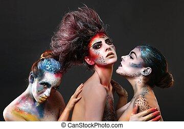 gyönyörű, kreatív, kozmetikum, nők
