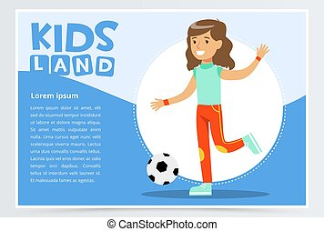 gyönyörű, lakás, gyerekek, mozgatható, futball, app, elem, website, vektor, aktivál, leány, játék, transzparens, vagy, vidék