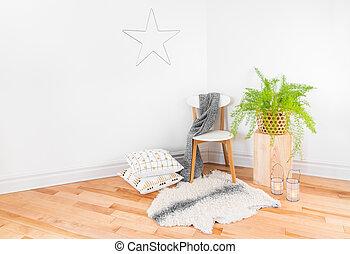 gyönyörű, lakberendezési tárgyak, természetes, kényelmes, kellék, otthon