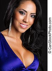 gyönyörű, latin-amerikai, nő