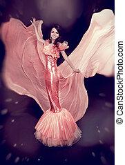 gyönyörű, leány, alatt, fújás, ruha, flying., mód, hölgy, alatt, fényűzés, ruha