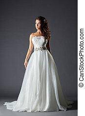 gyönyörű, leány, alatt, pazar, esküvő öltözködik