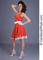gyönyörű, leány, alatt, piros, dress.