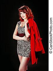 gyönyörű, leány, alatt, piros ruha, felett, képben látható, black háttér