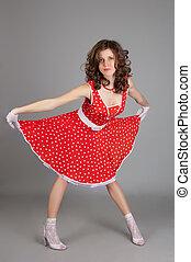 gyönyörű, leány, alatt, piros ruha
