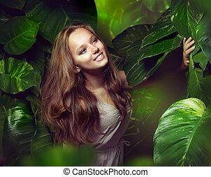 gyönyörű, leány, dzsungel