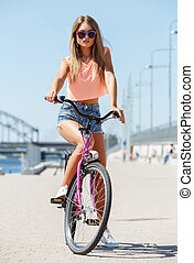 gyönyörű, leány, noha, bicikli