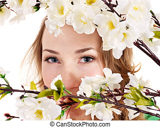 gyönyörű, leány, noha, eredet, flower.