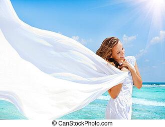 gyönyörű, leány, noha, fehér, sál, a parton