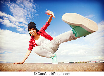 gyönyörű, leány, tánc, mozgalom