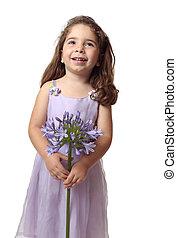 gyönyörű, leány, virág, mosolygós, meglehetősen
