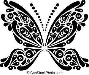 gyönyörű, lepke, motívum, alakzat., ábra, fekete, művészi,...