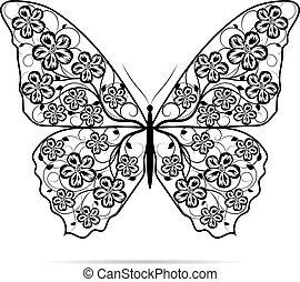 gyönyörű, lepke, pattern., virágos