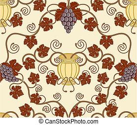 gyönyörű, levél növényen, urna, szőlőtőke, seamless, tervezés, cserép