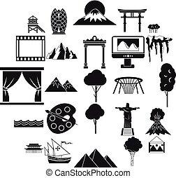 gyönyörű, mód, ikonok, állhatatos, egyszerű, kilátás