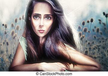 gyönyörű, mód, nő, összetett, anime, portré