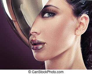 gyönyörű, mód, nő, modern, fiatal, képzelet, portré
