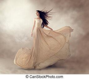 gyönyörű, mód, sifón, fényűzés, folyó, formál, ruha, nyersgyapjúszínű bezs