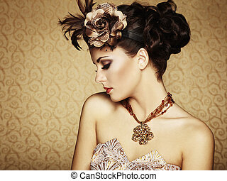 gyönyörű, mód, szüret, retro, portré, woman.