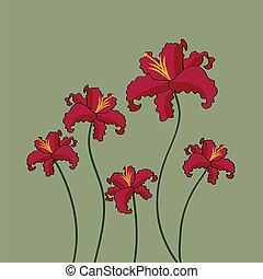 gyönyörű, menstruáció, piros háttér