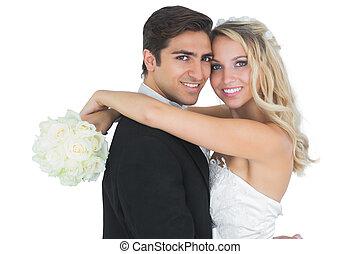 gyönyörű, menyasszony, átkarolás, neki, férj