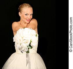 gyönyörű, menyasszony, átmérő, ellen