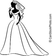gyönyörű, menyasszony, alatt, dress.