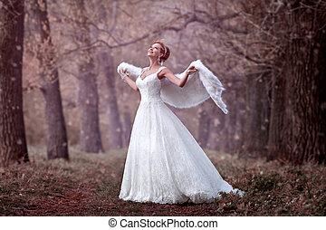 gyönyörű, menyasszony, alatt, egy, esküvő öltözködik, alatt, a, erdő