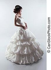 gyönyörű, menyasszony, alatt, nagyszerű, esküvő, dress., mód, lady., studio fénykép