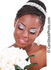 gyönyörű, menyasszony, birtok, rózsa, csokor